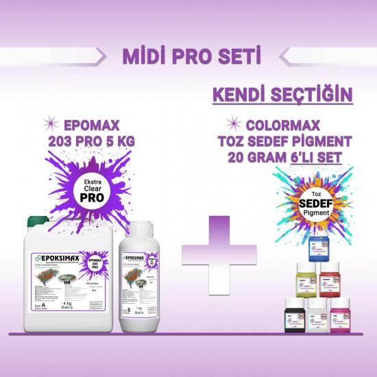 MİDİ PRO SETİ - EPOMAX 203 PRO 5 KG + 6x20 Gr PİGMENT