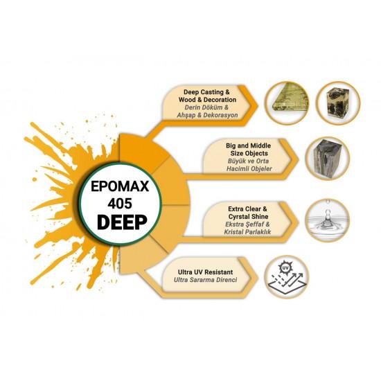EPOMAX 405 DEEP Ekstra Şeffaf Derin Tek Döküm için Epoksi Reçine 30 KG